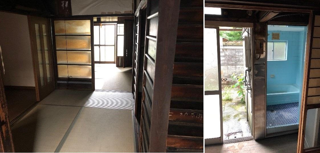 Before: 写真左:工事前の1階(東) 写真右:工事前の1階風呂場(西)